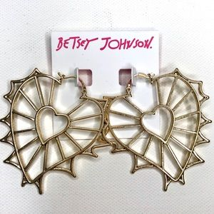Betsey Johnson Openwork Heart Earrings